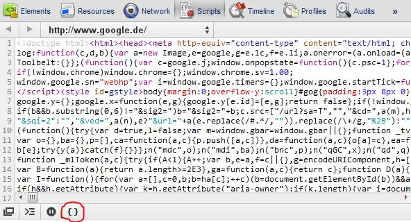 Codeformat: Auf die Klammern klicken