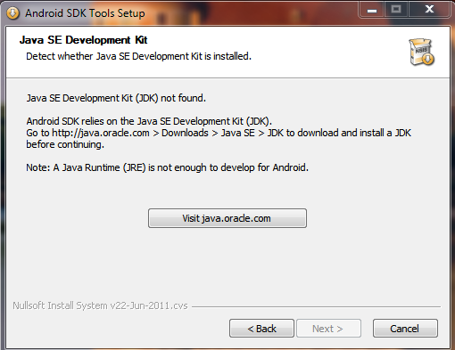 Android SDK: Java not found