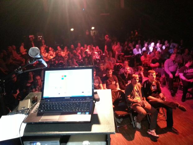 Webmontag - Blick vom Speakerpult kurz vor der Präsentation